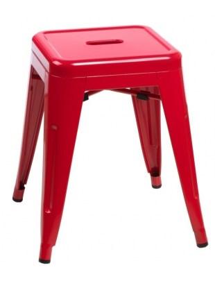 Stołek Paris czerwony inspirowany Tolix