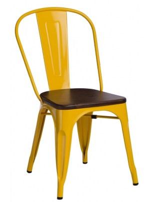 Krzesło Paris Wood żółte sosna orzech