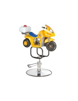 Dziecięcy fotel fryzjerski Moto BW-604 żółty