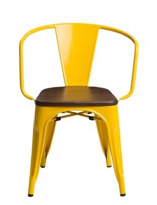 Krzesło Paris Arms Wood żółte sosna orze ch