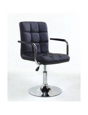 MIRACLE - Fotel fryzjerski czarny z podłokietnikami WYBÓR PODSTAW