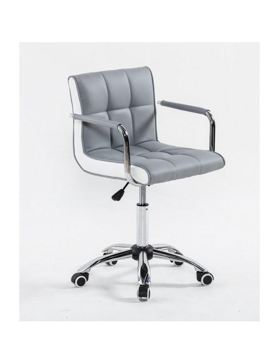 LAO  - Fotel fryzjerski szary - kółka