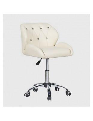 ZESTA - fotel fryzjerski z kółkami kremowy