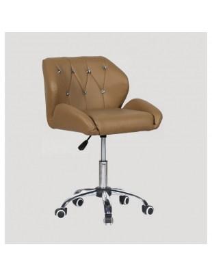 ZESTA - fotel fryzjerski z kółkami karmelowy