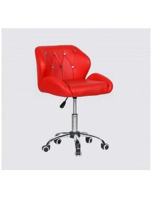 ZESTA - fotel fryzjerski z kółkami czerwony
