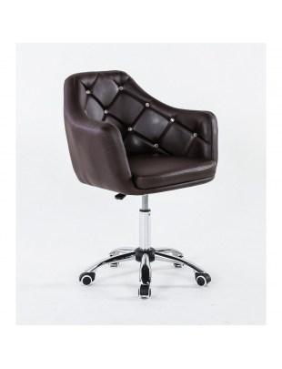 Blink - Krzesło kosmetyczne czekoladowe na kółkach