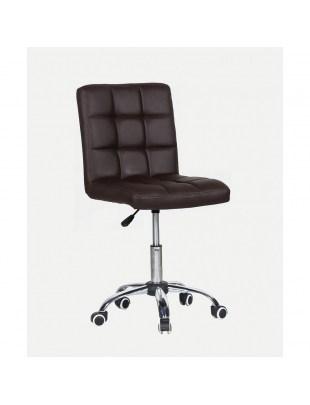 CARLOS - fotel fryzjerski z kółkami brązowy