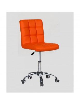 CARLOS - fotel fryzjerski z kółkami pomarańczowy