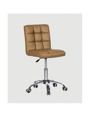 CARLOS - fotel fryzjerski z kółkami karmelowy