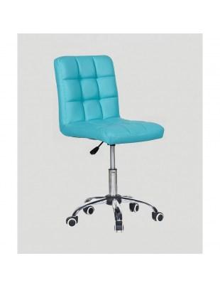 CARLOS - fotel fryzjerski z kółkami turkusowy