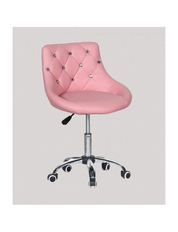 SIMONA - fotel fryzjerski z kółkami różowy