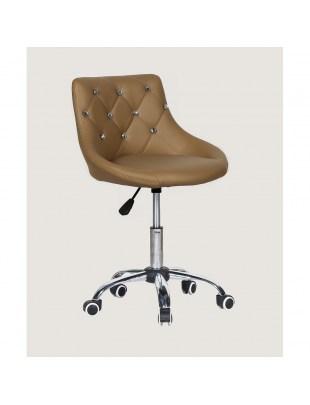SIMONA - fotel fryzjerski z kółkami karmelowy