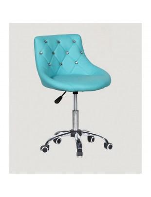 SIMONA - fotel fryzjerski z kółkami turkusowy