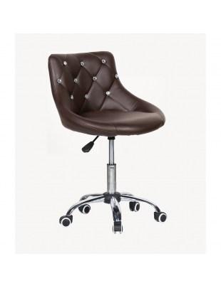 SIMONA - fotel fryzjerski z kółkami czekoladowy