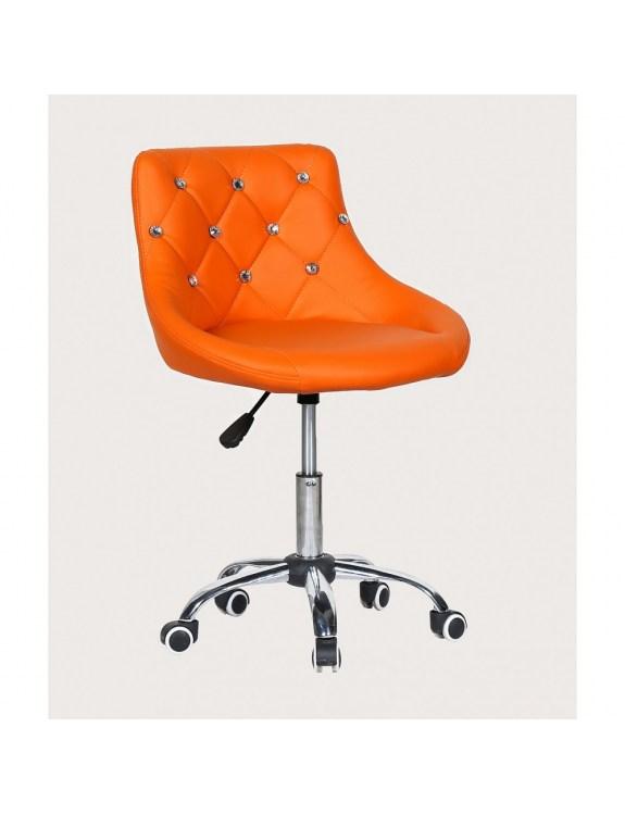 SIMONA - fotel fryzjerski z kółkami pomarańczowy
