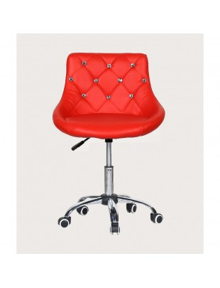 SIMONA - fotel fryzjerski z kółkami czerwony