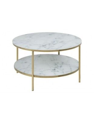 Okrągły stolik kawowy z półką (biały marmur + złoty) - Alisma