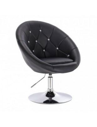 Czarne krzesło kosmetyczne, pikowane, Swarovski - VIKA