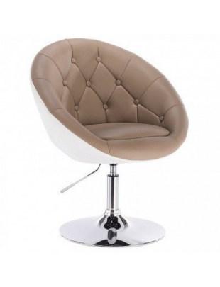 Brązowe krzesło kosmetyczne glamour, pikowane - VIKA
