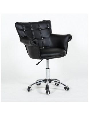 LORA  - Fotel fryzjerski czarny z kółkami