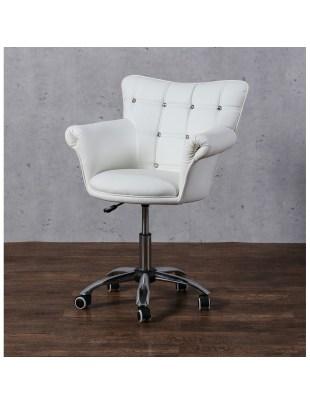 LORA CRISTAL - Fotel fryzjerski biały z kółkami