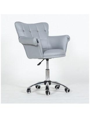 LORA  - Fotel fryzjerski szary z kółkami