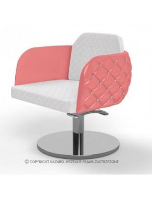 Różowy pikowany fotel fryzjerski - DIAMANTE