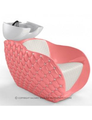 Różowa myjnia fryzjerska pikowana - DIAMANTE