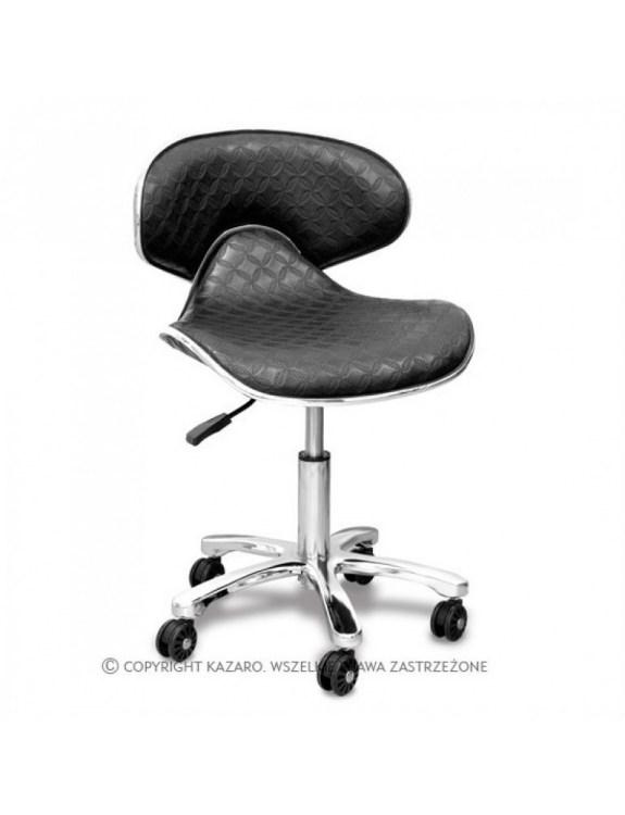 Głęboki taboret - Krzesło kosmetyczne czarne - COMFORT