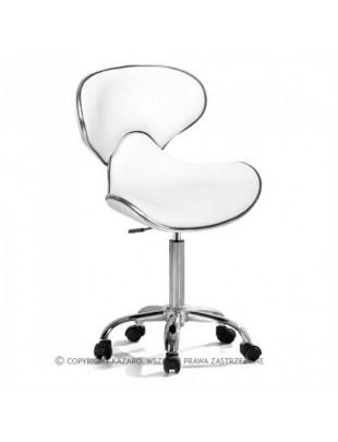 Głęboki taboret Krzesło kosmetyczne białe - COMFORT