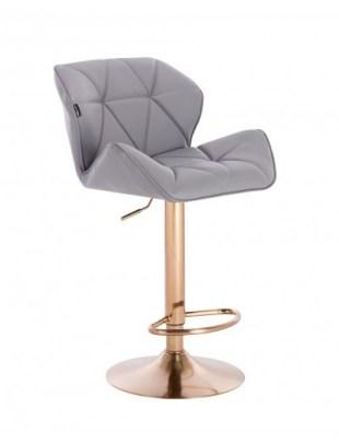 Petyr – krzesło kosmetyczne tapicerowane szare, złoty dysk z podnóżkiem