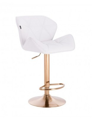 Petyr – krzesło kosmetyczne tapicerowane białe, złoty dysk z podnóżkiem