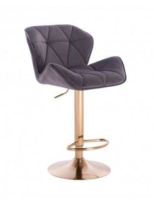Petyr – krzesło kosmetyczne tapicerowane grafitowe, złoty dysk z podnóżkiem