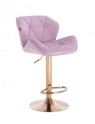 Petyr – krzesło kosmetyczne tapicerowane wrzosowe, złoty dysk z podnóżkiem
