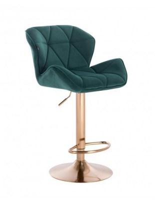 Petyr – krzesło kosmetyczne tapicerowane butelkowa zieleń, złoty dysk z podnóżkiem
