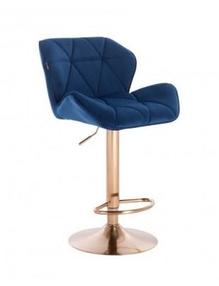 Petyr – krzesło kosmetyczne tapicerowane ciemne morze, złoty dysk z podnóżkiem