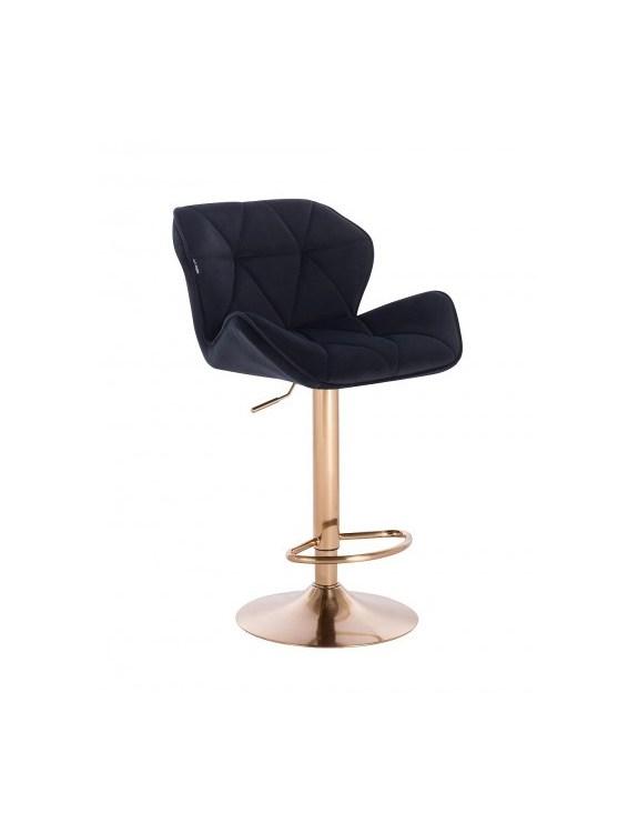 Petyr – krzesło kosmetyczne tapicerowane czarne, złoty dysk z podnóżkiem