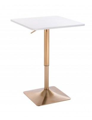 VOLA - Kwadratowy stolik obrotowy - biały, złoty kwadrat