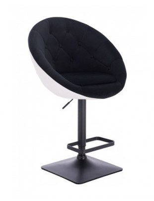 Blom - Krzesło kosmetyczne białe - czarny welur