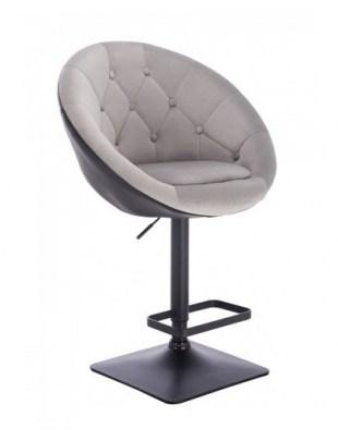 Blom - Krzesło kosmetyczne czarne - stalowy welur