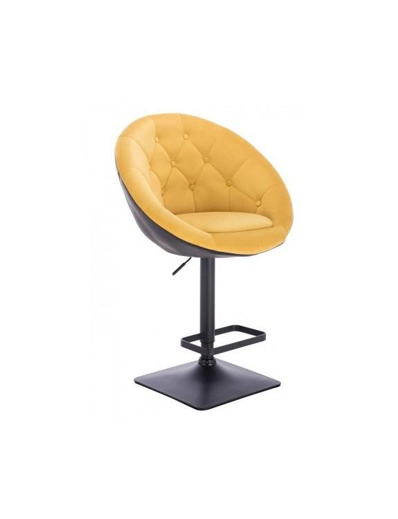 Blom - Krzesło kosmetyczne czarne - żółty welur