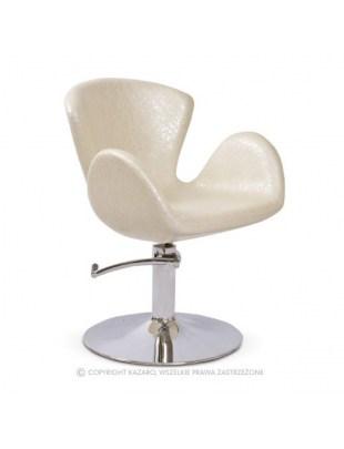 Geometryczny fotel fryzjerski ecru AQUA