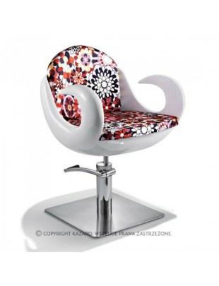 Fiore - Fotel fryzjerski biały, kwiatowe obicie