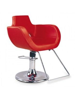 Czerwony fotel fryzjerski w stylu country - B-12