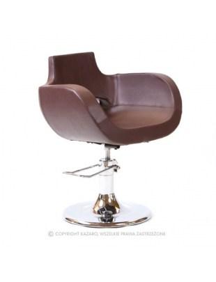 Brązowy fotel fryzjerski w stylu country - B-12