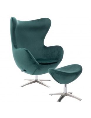 Fotel Jajo Velvet zielony ciemny z podnó żkiem