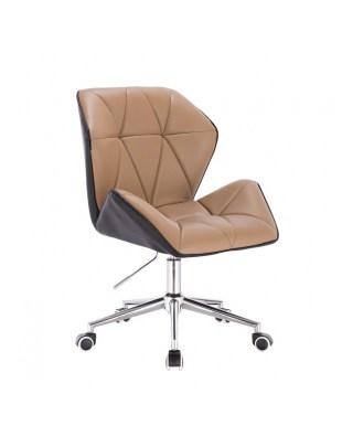 CRONO - Krzesło kosmetyczne karmelowe podstawa krzyżak chromowany