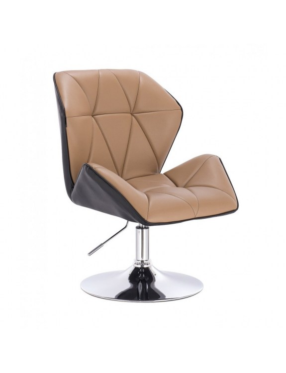 CRONO - Krzesło kosmetyczne karmelowe podstawa dysk chromowany