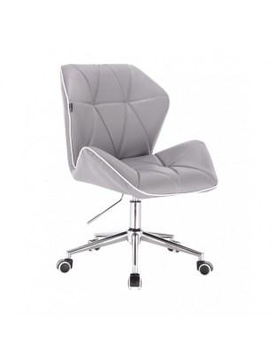 CRONO - Krzesło kosmetyczne z oparciem szare ekoskóra WYBÓR PODSTAW