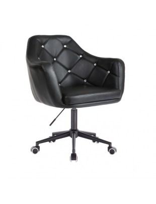 Blink - Krzesło kosmetyczne czarne z kryształkami WYBÓR PODSTAW